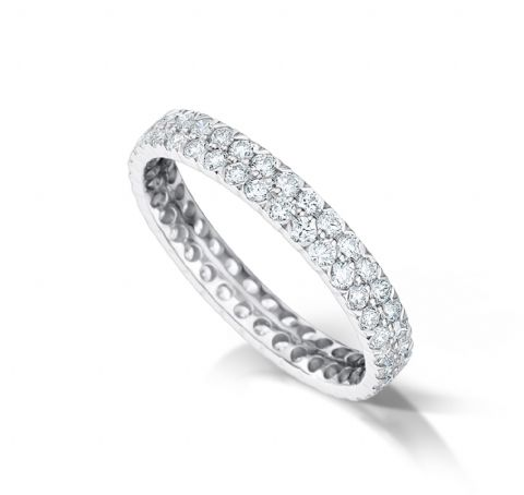 Channel set flat court eternity/wedding ring, platinum. 3.1mm x 1.7mm. Full coverage